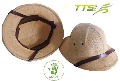 TTS Pro Comfortable Adults Rigid Costume Pith Helmet Safari Hat With Adjustable Velcro Head Band