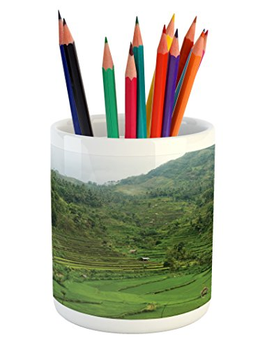 Cheap  Ambesonne Balinese Pencil Pen Holder by, Terraced Rice Paddies in Hillside Tropical..