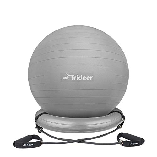 (Trideer Ball Chair – Exercise Stability Yoga Ball with Base for Home and Office Desk, Ball Seat, Flexible Seating with Resistance Bands & Pump, Improves Balance, Back Pain, Core Strength)