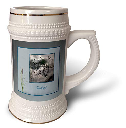 3dRose Beverly Turner Thank you Design - Thank you, Frog in a Pond Photo, Cattails Accent, Blue Frame - 22oz Stein Mug (stn_286999_1)