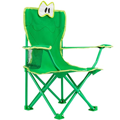 KingCamp Junior Stable Cartoon Frog Folding Steel Chair with Cup Holder, Armrest and High Back