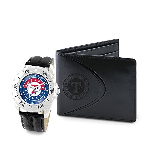 (Game Time GTW-MLB-WWS-TEX Texas Rangers MLB Mens Watch & Wallet Set)