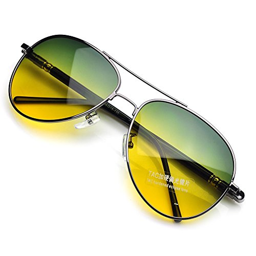 PenSee Day Night Vision Sunglasses Glasses Anti-glare Driving Eyewear Polarized Lens Rifle Frame ()