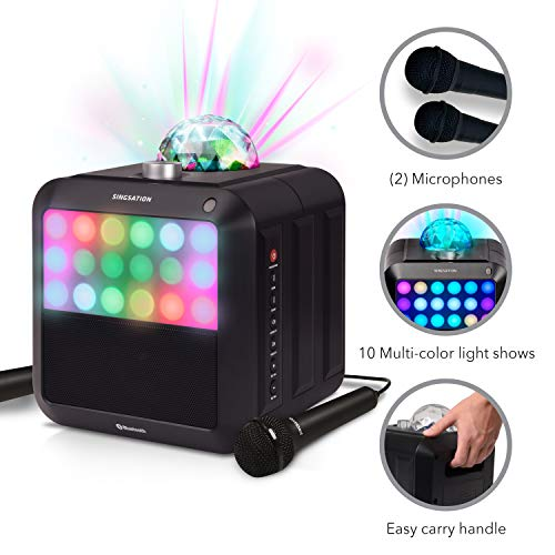 Portable Karaoke Machine - Singsation Star Burst - System Comes w/ 2 Mics, Room-Filling Light Show, Retro Light Panel & Works via Bluetooth - No CDs Required - YouTube Your Favorite Karaoke Songs (Star Machine Karaoke)