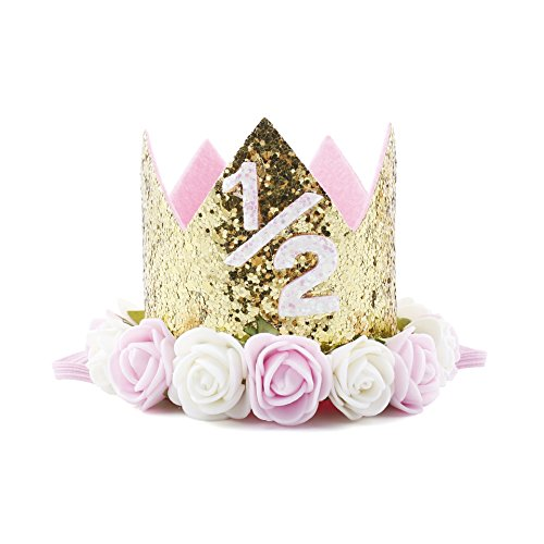 Baby Princess Tiara Crown Baby Girls First Birthday Hat Sparkle Rose Flower Crown Birthday Headband Hair Accessories for Baby Shower 1st 2nd 3rd Birthday Party Decorations. …