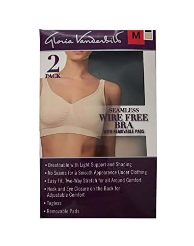 Gloria Vanderbilt Women's Seamless Wire Free Bra with Removable Pads (2 Pack),Black/Nude,M