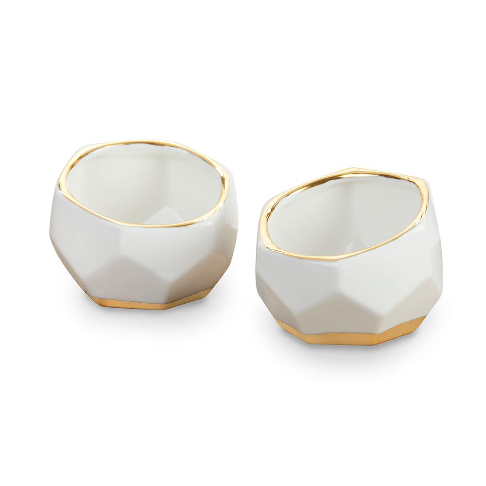 Kate Aspen 23216NA Geometric Ceramic Planters Decorative Bowls (Set of 2) Trinket Dish, Home, Room, Desk, Table Décor, One Size, White by Kate Aspen