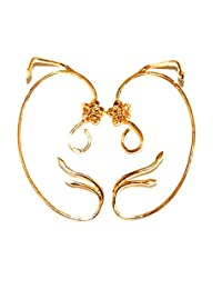 Womens Girls Gold Plated Belle Beauty and the Beast Enchanted Rose Floral Ear cuffs Earrings Jewelry Cosplay Party