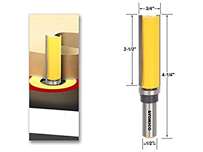 Yonico 14130 Flush/Template Trim Router Bit with 3/4-Inch X 2-1/2-Inch 1/2-Inch Shank