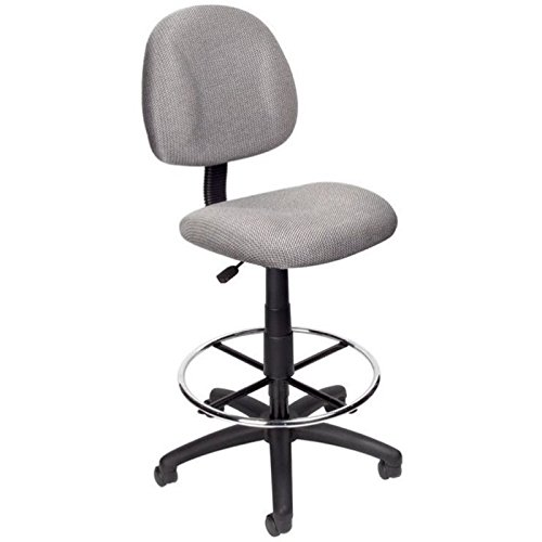 Pemberly Row Fabric Upholstered Office Drafting Stool in Gray by Pemberly Row