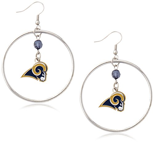 NFL Los Angeles Rams Color Bead Hoop Earrings - Louis Rams Crystal Earring