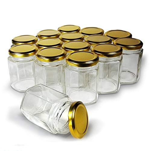 Hexagon Jars Gold Lid (15pcs, 6.0 oz) Hexagon Glass Jars with Gold Plastisol Lined Lids for Jam Honey Jelly Wedding Favors Baby Shower Favors Baby Food DIY Magnetic Spice Jars -