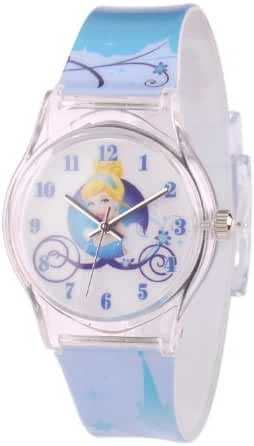 Disney Kids' W001273 Tween Cinderella plastic printed blue plastic strap watch