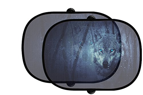Wolf In Dark 2Pcs Foldable Auto Window Sunshade Mesh (Shade Wolf)