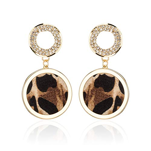 (Leopard Print Circle Halo Crystal Earrings - Mottled Geometric Round Dangle Earrings, Perfect Jewelry Gift for Women)