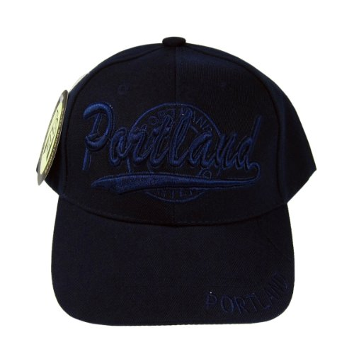 Portland Baseball Cap Hat Souvenir Embroidered Deep Navy Blue Adjustable