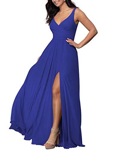 V-Neck Long Bridesmaid Dress Chiffon Wedding A-line Prom Dress with Slit Formal Dress(Royal Blue,10)