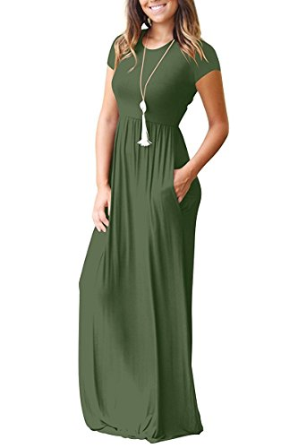 6940512db0d AUSELILY Women Short Sleeve Loose Plain Casual Long Maxi Dresses with  Pockets at Amazon Women's Clothing store: