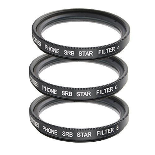 ZOMEI Optical Star Cross Filter Twinkle Effect 4-Point 6-Point 8-Point with 37mm Clip + WINGONEER LED Light for iPhone 6S, 6S Plus, Samsung Galaxy, and Android Smartphones by ZoMei
