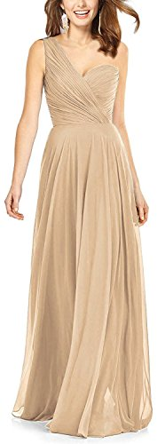 Butmoon Women`s One shoulder A Line Chiffon Bridesmaid Dresses Chiffon