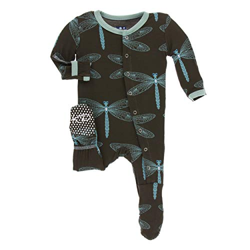 Kickee Pants Little Boys and Girls Print Footie with Snaps - Giant Dragonfly, 12-18 Months