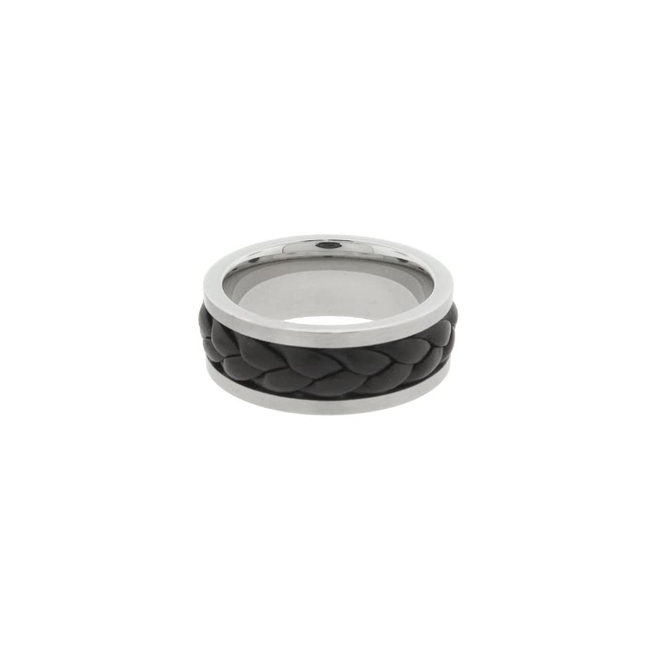 Mens Stainless Steel Ring with Black Leather Band, Size 10
