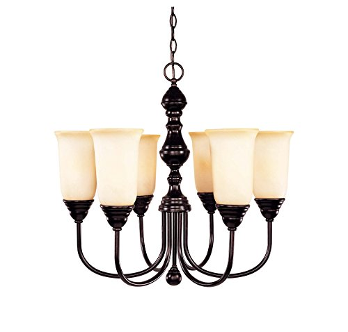 Savoy House 1-1701-6-13 Chandelier with Cream Faux Marble Shades, English Bronze Finish