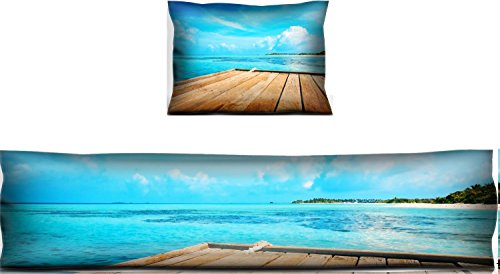 Liili Mouse Wrist Rest and Keyboard Pad Set, 2pc Wrist Support Jetty beach and jungle vacation background IMAGE ID 26400089