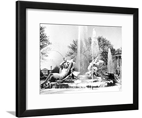 ArtEdge Logan Square, Frozen in Time, Philadelphia, Pennsylvania Black Framed Matted Wall Art Print, 12x16 (Logan Square Print)