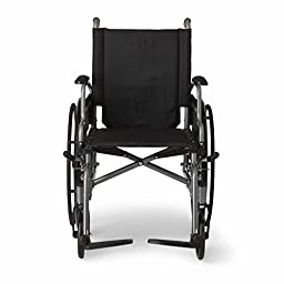 """Medline Lightweight and User-Friendly Wheelchair with Flip-Back Desk Arms and Swing-Away Leg Rests for Easy Transfers, Gray, 20"""" x 18\"""