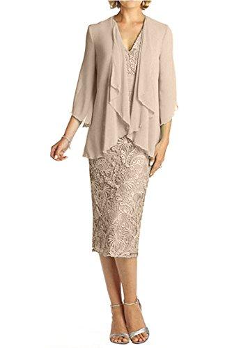 Bolero Glamour Champagner Knie Ausschnitt Damen V Ballkleider mit Lang Brautmutterkleider Charmant Abendkleider Spitze PwZS7q
