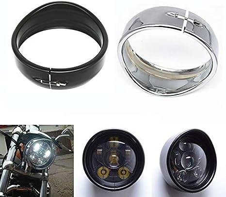 Color : Balck Visiera faro tipo anello di chiusura 69.735-05 forma for Sportster 883 XL883 1200 Bassa XL1200L Dyna Softail Iron 883 XL Motocicli accessori 5,75 5 3//4 in