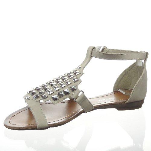 Kickly-Sandale zapatillas modo tobillo mujeres clouté cuadrado talón bloque 1,5 CM, interior de piel sintética, color Beige y plateado