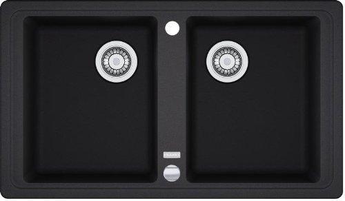 Franke Basis BFG 620 Onyx Fragranit-Spüle Schwarz Exenter Doppelbecken Auflage