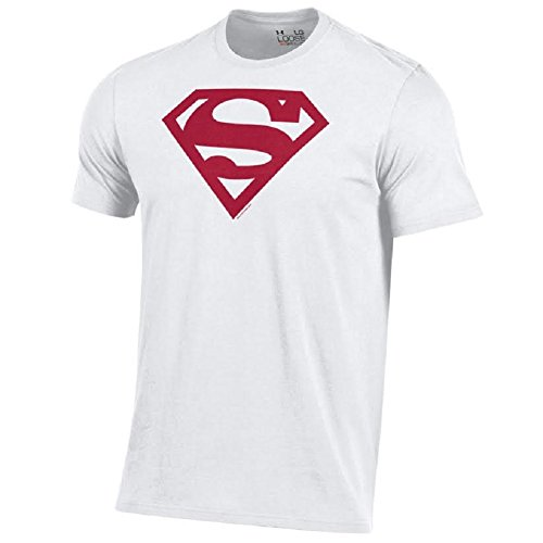 Under Armour Men's Alter Ego Superman Charged Cotton Performance T-Shirt-White with Cardinal Shield-XL