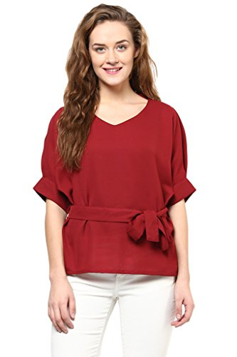 85fe4e75cec Miss Chase Women's Solid Knotted Half-Sleeve V-Neck Tops  Amazon.in   Clothing   Accessories