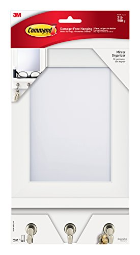 Command Mirror Organizer, Quartz, 1-Organizer with Key Hooks, 8-Medium Strips (HOM24MQ-ES)