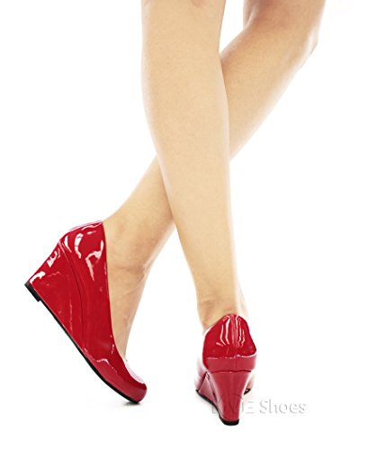 Pumps Red Round Patent Link Women's Pat Forever Doris Wedge Toe 22 qxF8czSX