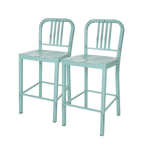 Glitzhome Vintage mint green Metal Counter Stool (Set of 2) (Light Stools Blue Bar)