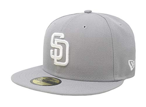 New Era 59Fifty Hat San Diego Padres MLB Basic Gray Fitted Cap 11591111 (7 5/8) (Custom New Era Hats)
