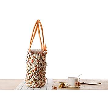Outflower Bolsa con Flor de Paja para Duradero Bolso Bandolera de Color Tejida a Mano Bolsas de Bandolera Simple Playa Redonda de Verano Mujer