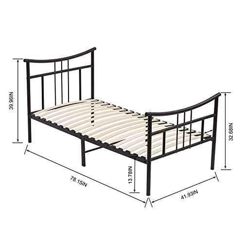 DORAFAIR Metal Twin Size Complete Bed Frame, Vintage Mattress Foundation Platform with Headboard and Footboard, Wooden Slats Support Box Spring Replacement for Kids Adult,Black