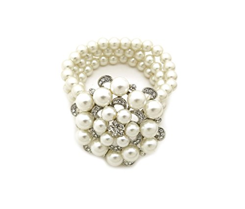 Fashion 21 Women's Simulated Pearl Triple Strand Flower Centered Stretch Bracelet (Silver + ()