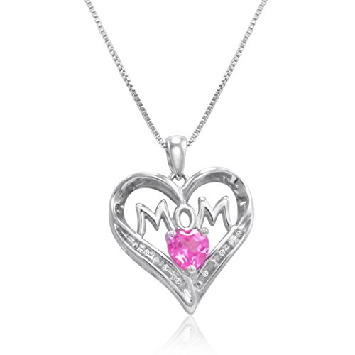 - Sterling Silver Created Pink Sapphire and Diamond Mom in Heart Pendant-Necklace