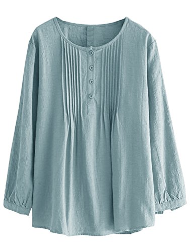 Minibee Women's Scoop Neck Pleated Blouse Solid Color Lovely Button Tunic Shirt Blue 2XL