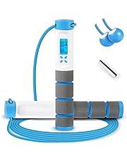 Springtouw, digitale verzwaarde handvat workout springtouw met calorieënteller voor training fitness, verstelbare snelheid oefening springtouw voor mannen, vrouwen, kinderen, meisjes