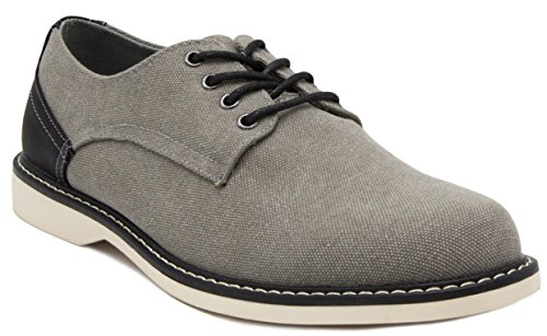 London Fog Oxfords - London Fog Mens Exeter Canvas Dress Shoe Grey 11 M US
