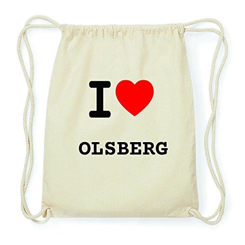 JOllify OLSBERG Hipster Turnbeutel Tasche Rucksack aus Baumwolle - Farbe: natur Design: I love- Ich liebe 6Qi7tM