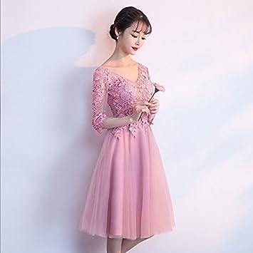 JKJHAH Vestido De Fiesta Banquete Mujer Con Cuello En V Vestido De Fiesta, Rosa,