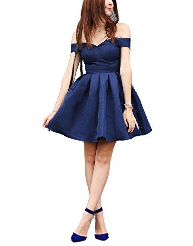 Drehouse Femmes Hors De L'épaule Robes Courtes Homecoming Satin Doux Bleu Marine 16 Robes De Fête